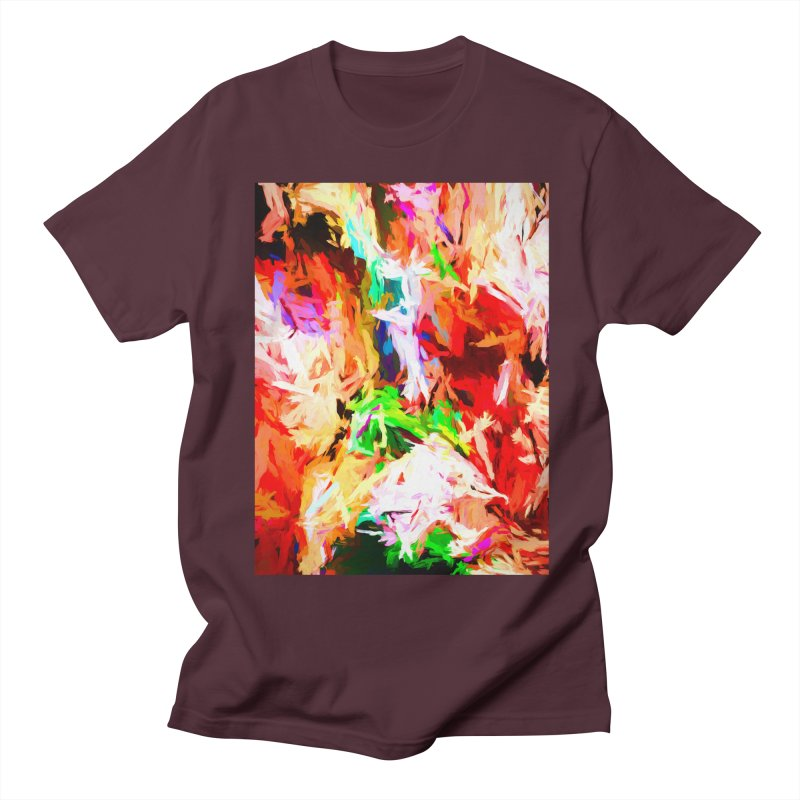 Orange Fire with the Blue Teardrops Men's Regular T-Shirt by jackievano's Artist Shop