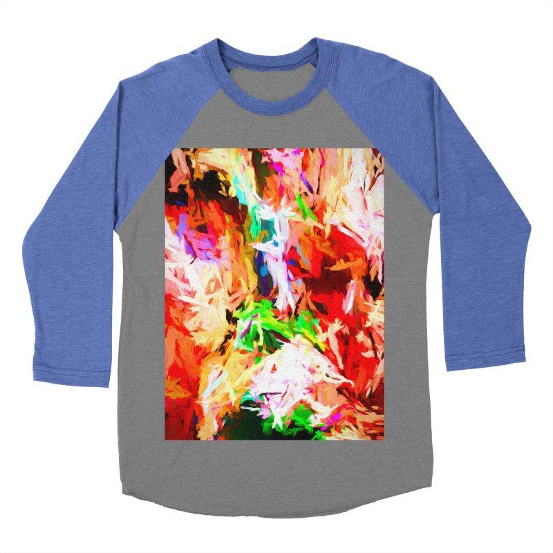 Orange Fire with the Blue Teardrops Women's Baseball Triblend Longsleeve T-Shirt by jackievano's Artist Shop