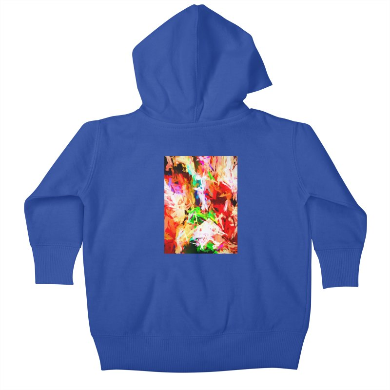 Orange Fire with the Blue Teardrops Kids Baby Zip-Up Hoody by jackievano's Artist Shop
