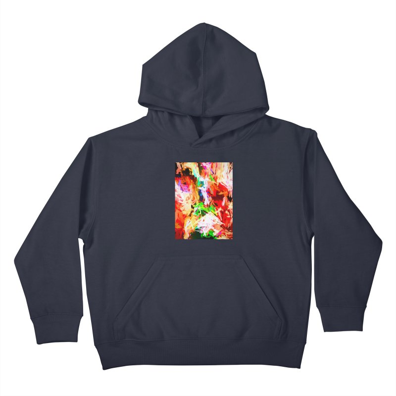 Orange Fire with the Blue Teardrops Kids Pullover Hoody by jackievano's Artist Shop