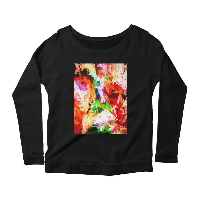 Orange Fire with the Blue Teardrops Women's Scoop Neck Longsleeve T-Shirt by jackievano's Artist Shop