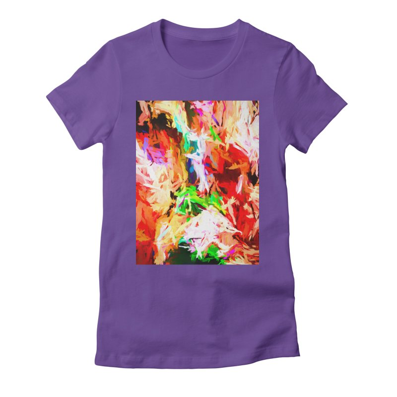 Orange Fire with the Blue Teardrops Women's Fitted T-Shirt by jackievano's Artist Shop