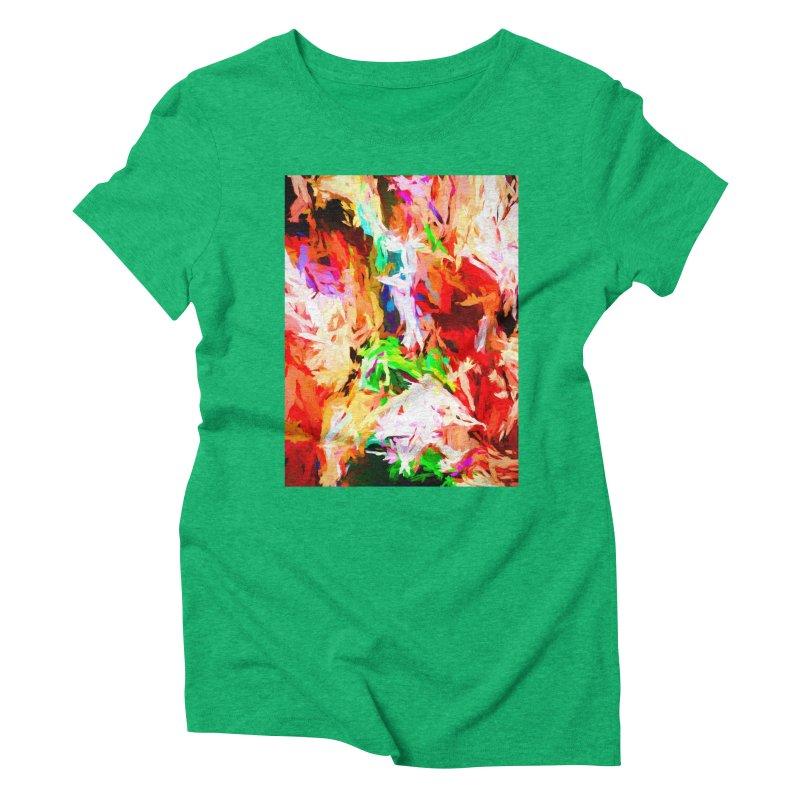 Orange Fire with the Blue Teardrops Women's Triblend T-Shirt by jackievano's Artist Shop