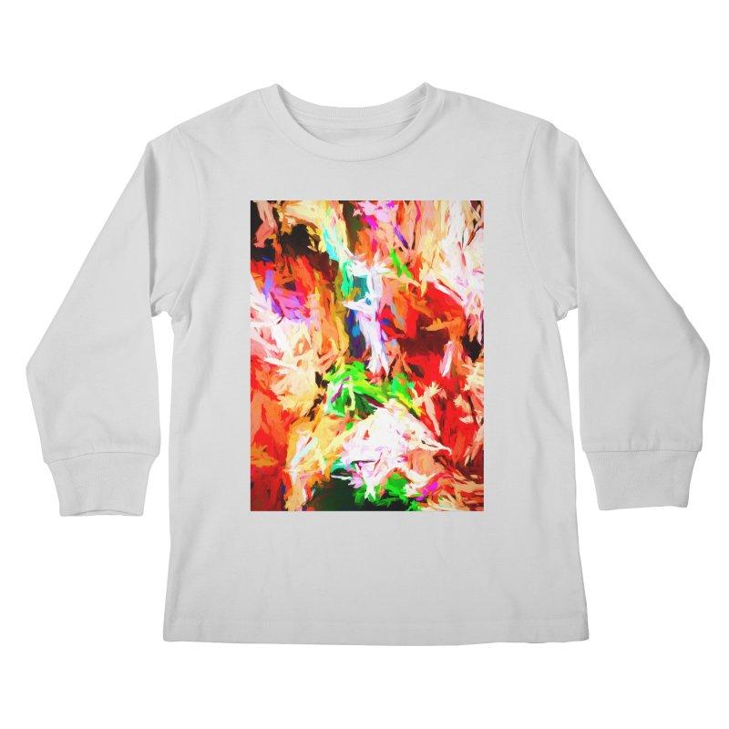 Orange Fire with the Blue Teardrops Kids Longsleeve T-Shirt by jackievano's Artist Shop