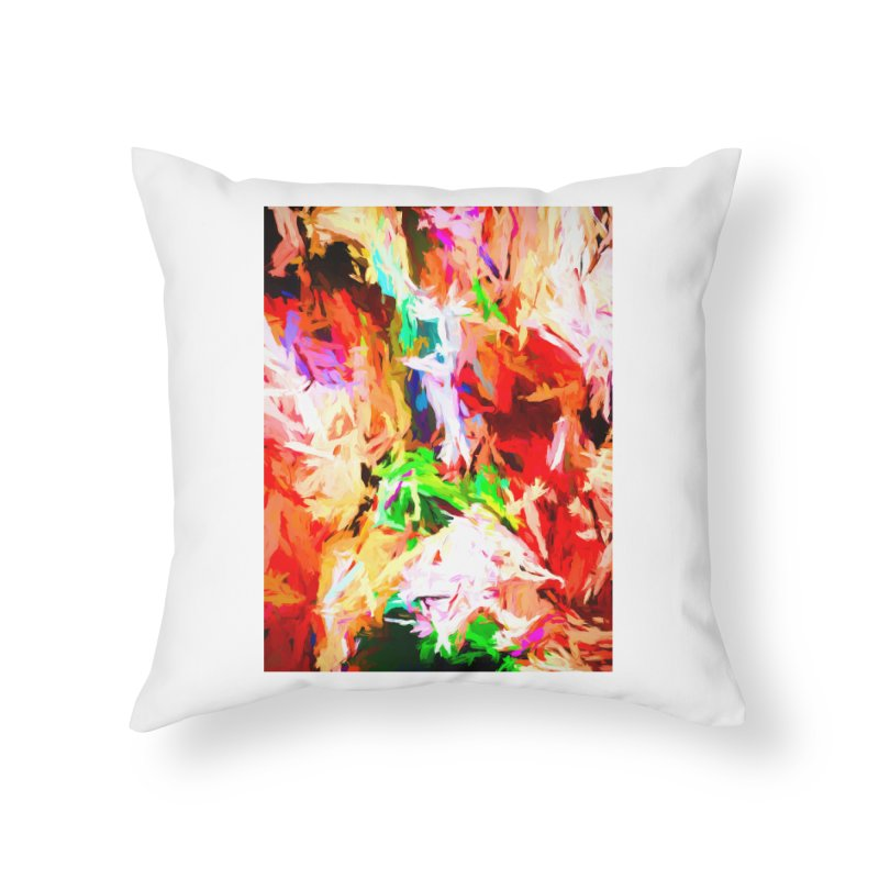 Orange Fire with the Blue Teardrops Home Throw Pillow by jackievano's Artist Shop