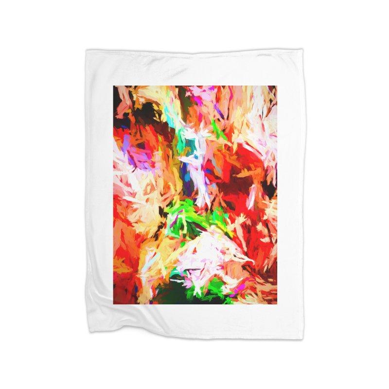 Orange Fire with the Blue Teardrops Home Fleece Blanket Blanket by jackievano's Artist Shop
