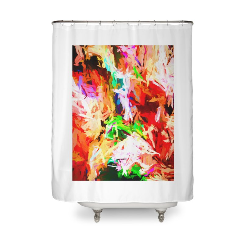 Orange Fire with the Blue Teardrops Home Shower Curtain by jackievano's Artist Shop