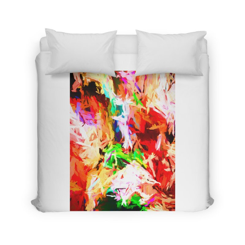 Orange Fire with the Blue Teardrops Home Duvet by jackievano's Artist Shop