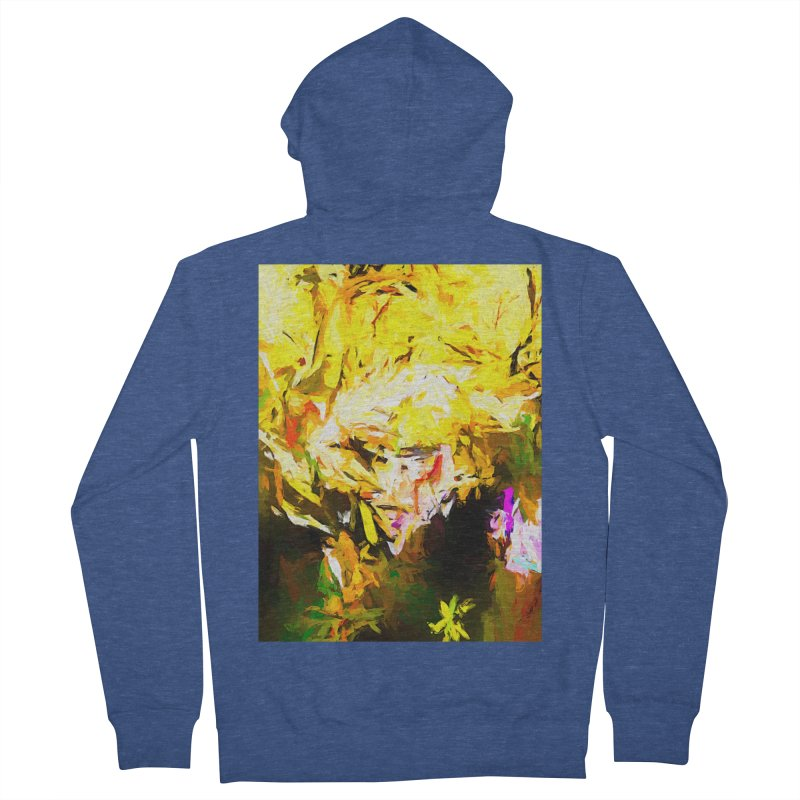 Happy Blind Woman with Hair Flowing in the Wind Men's French Terry Zip-Up Hoody by jackievano's Artist Shop