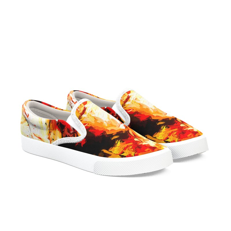 Fire Bull Soul Women's Slip-On Shoes by jackievano's Artist Shop