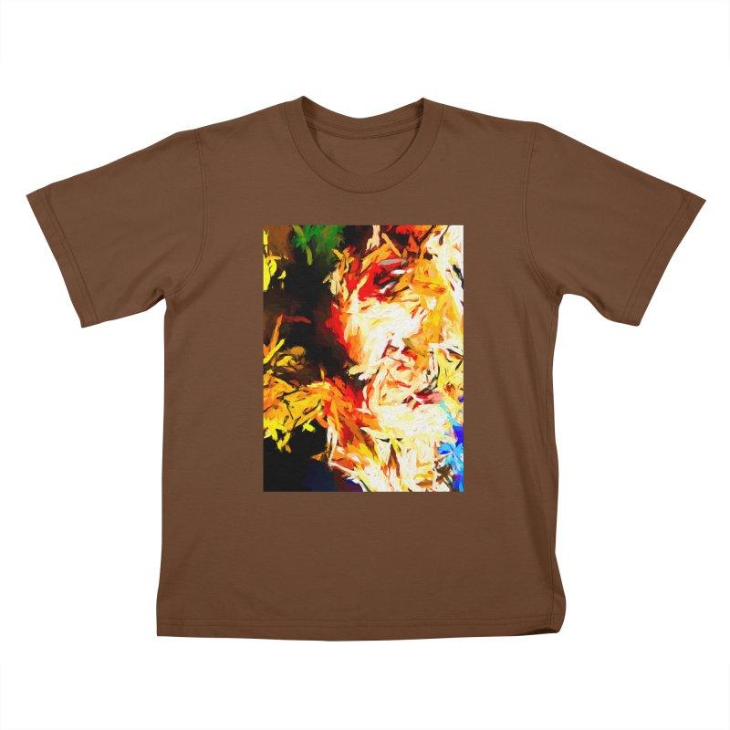 Fire Bull Scream Kids T-Shirt by jackievano's Artist Shop