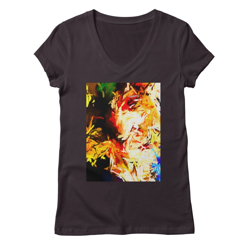 Fire Bull Scream Women's Regular V-Neck by jackievano's Artist Shop