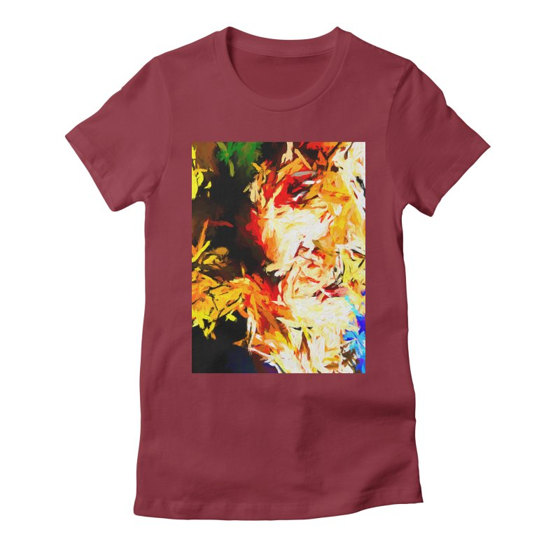 Fire Bull Scream Women's Fitted T-Shirt by jackievano's Artist Shop