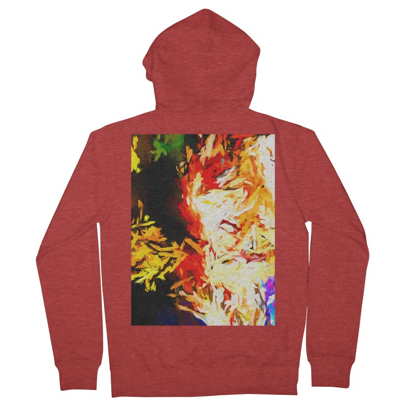 Fire Bull Mask Men's French Terry Zip-Up Hoody by jackievano's Artist Shop