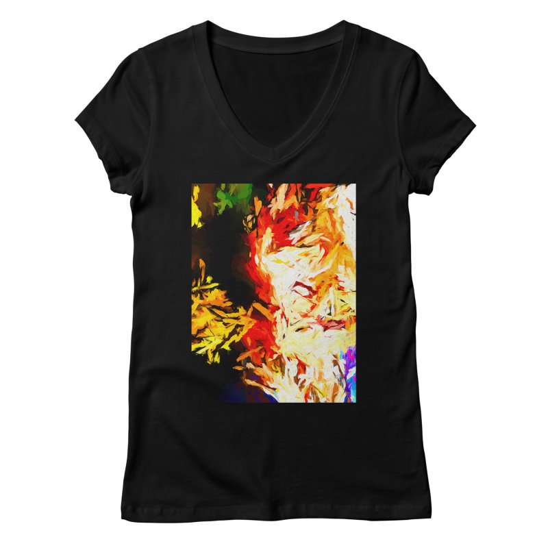Fire Bull Mask Women's Regular V-Neck by jackievano's Artist Shop