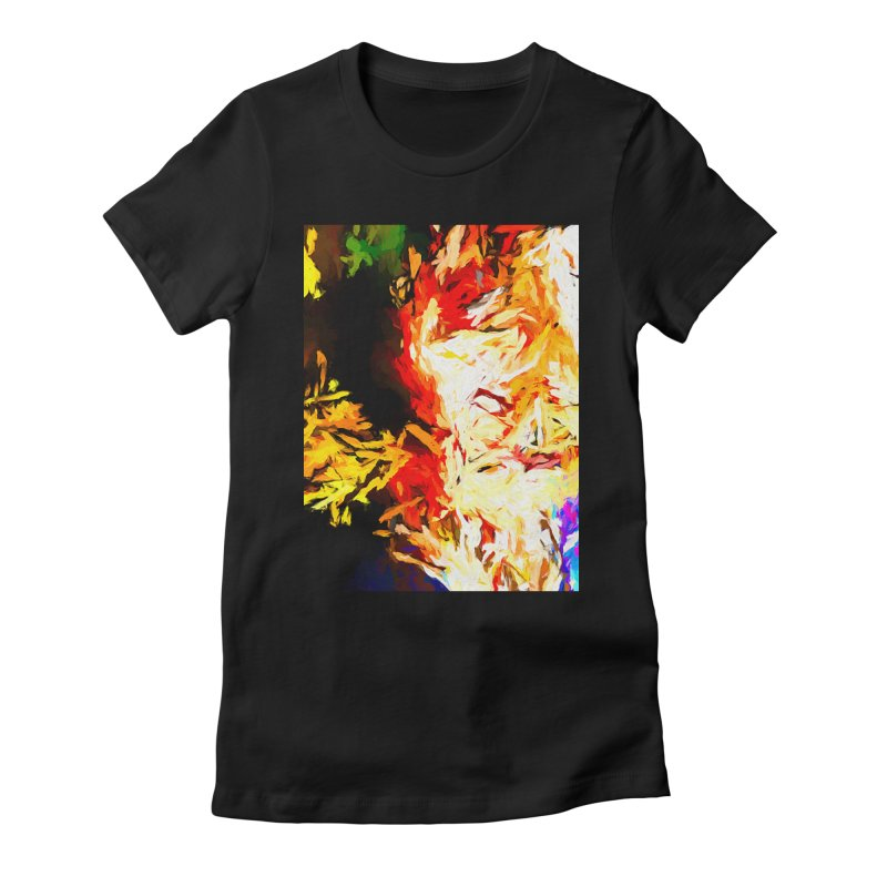 Fire Bull Mask Women's Fitted T-Shirt by jackievano's Artist Shop