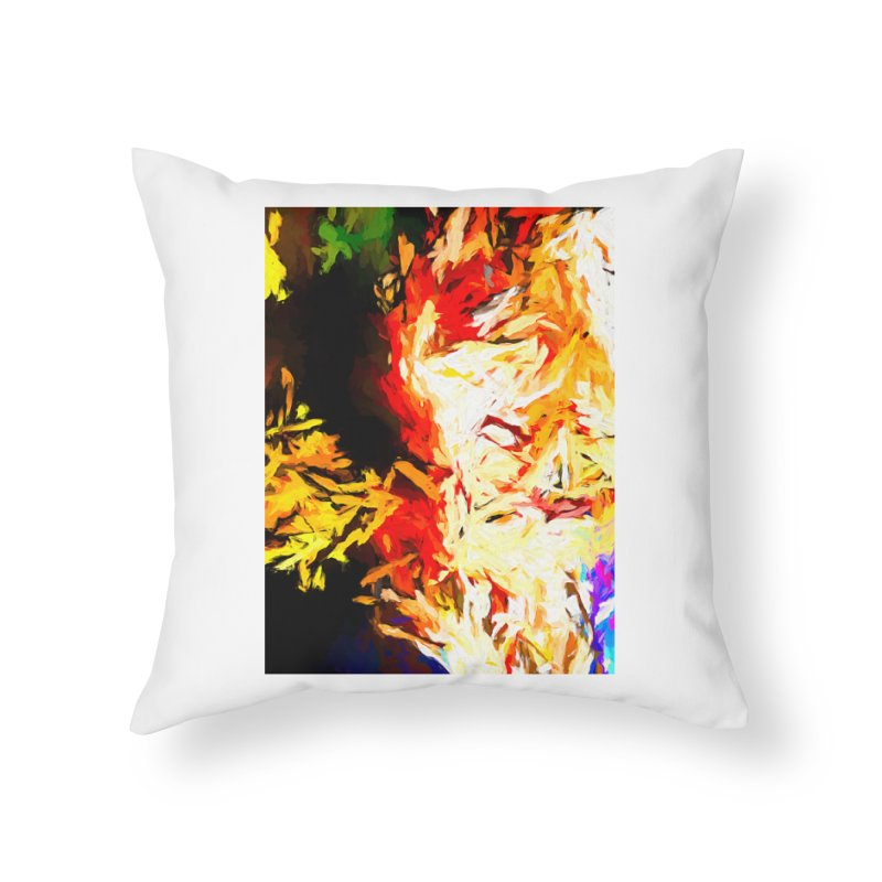 Fire Bull Mask Home Throw Pillow by jackievano's Artist Shop