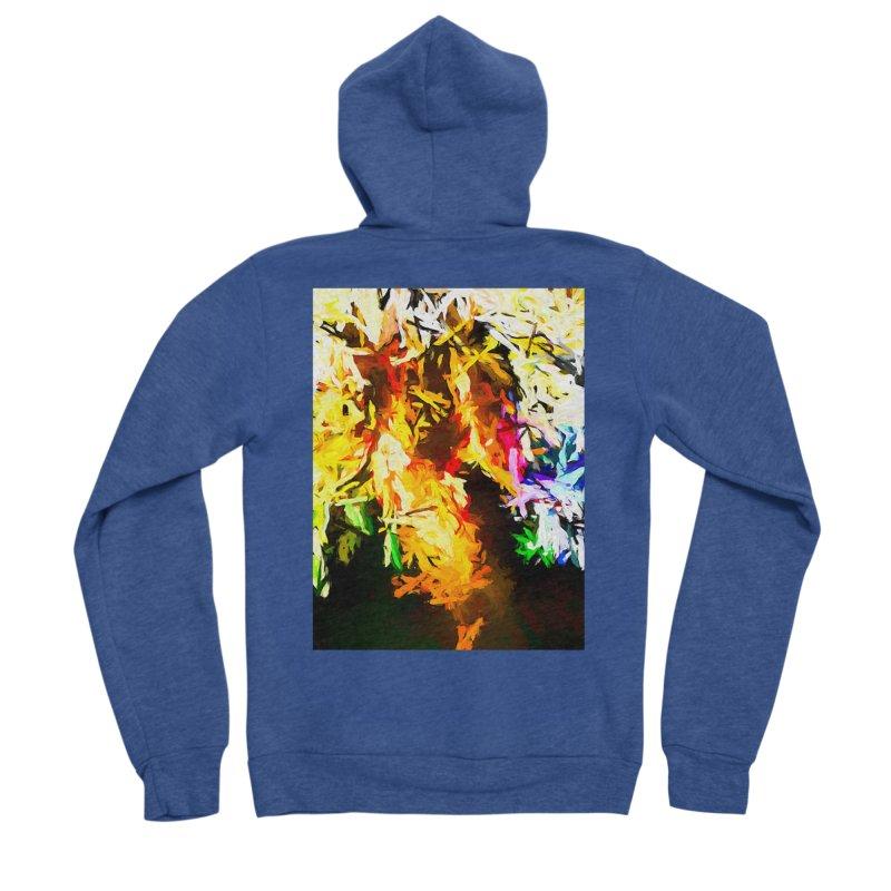 Orange Rainbow Pizza Man Women's Sponge Fleece Zip-Up Hoody by jackievano's Artist Shop