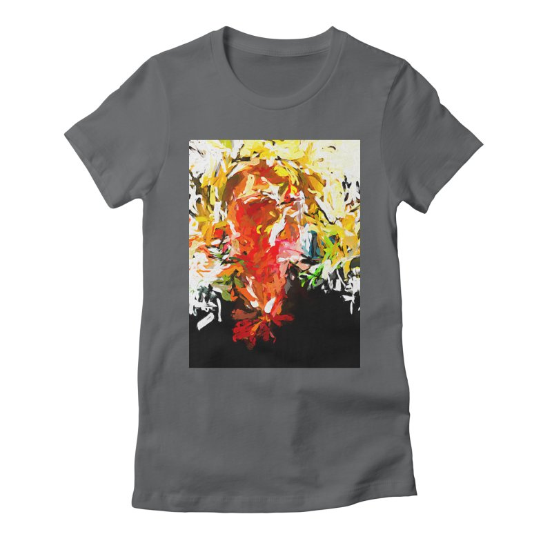Red Man Walks Down the Street JVO2019 Women's Fitted T-Shirt by jackievano's Artist Shop