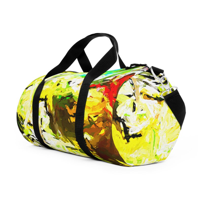 Red Lipstick on the Goldfish JVO2019 Accessories Duffel Bag Bag by jackievano's Artist Shop