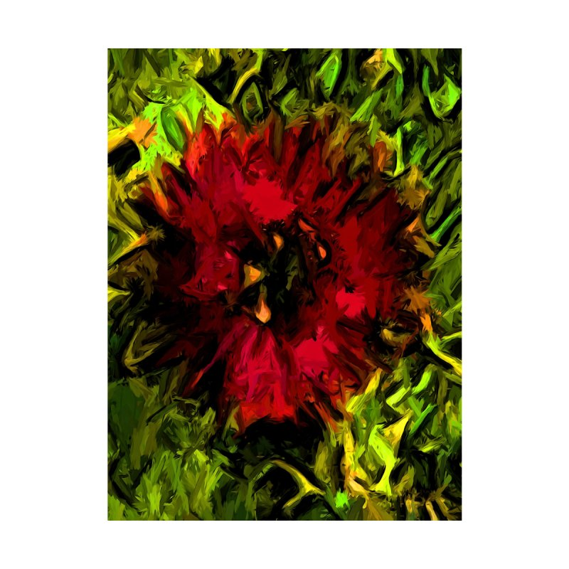 Red Flower and Green Leaves with Black Lines by jackievano's Artist Shop