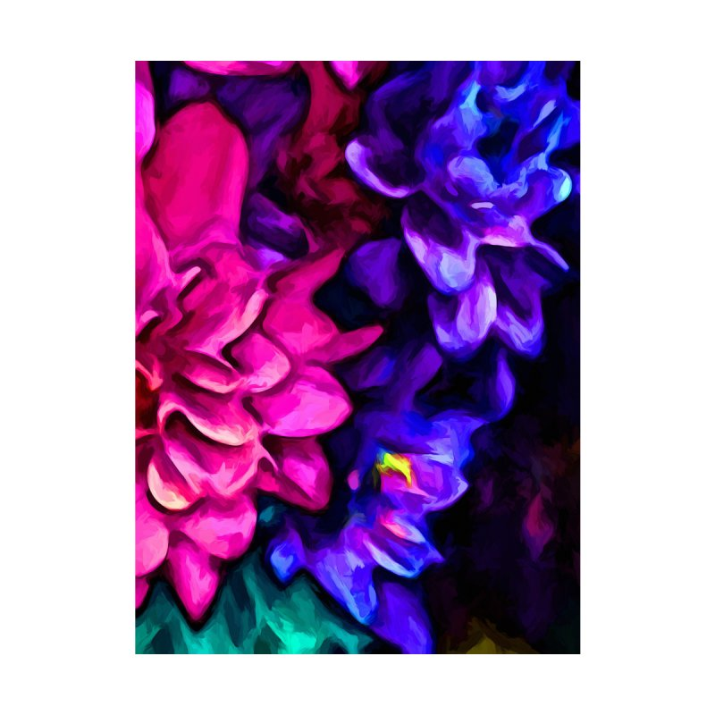 Pink Flower with Purple Flowers and some Blue by jackievano's Artist Shop