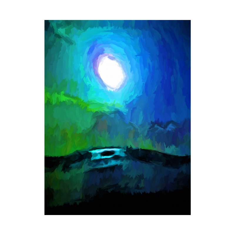 Moon in a Blue and Green Sky and on the Sea 2 by jackievano's Artist Shop