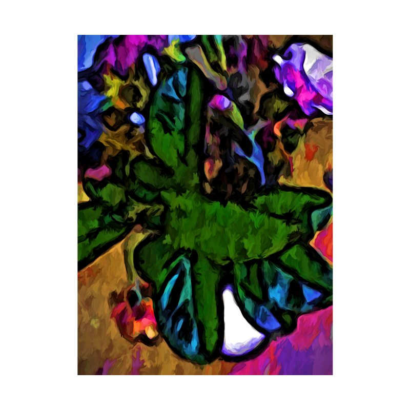 Green Leaves and Pink Flowers with some Blue by jackievano's Artist Shop