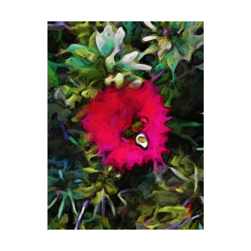 Pink Red Flower with Green and Grey Leaves by jackievano's Artist Shop