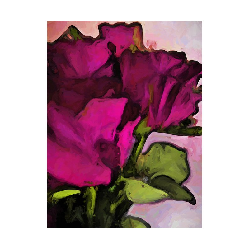 Pink Purple Roses and Green Leaves by jackievano's Artist Shop