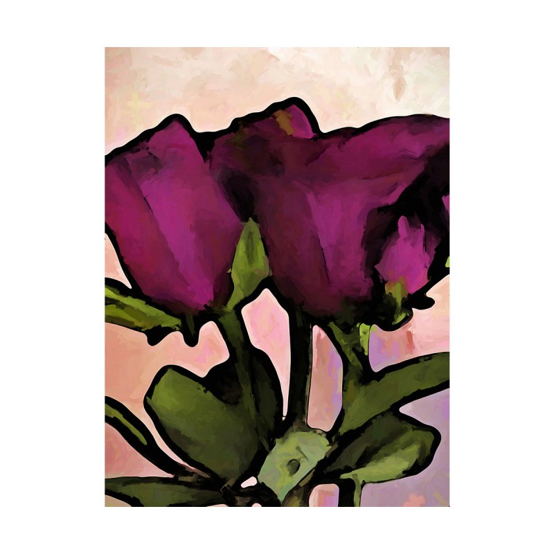 Pink Purple Roses with Green Stems and Leaves by jackievano's Artist Shop