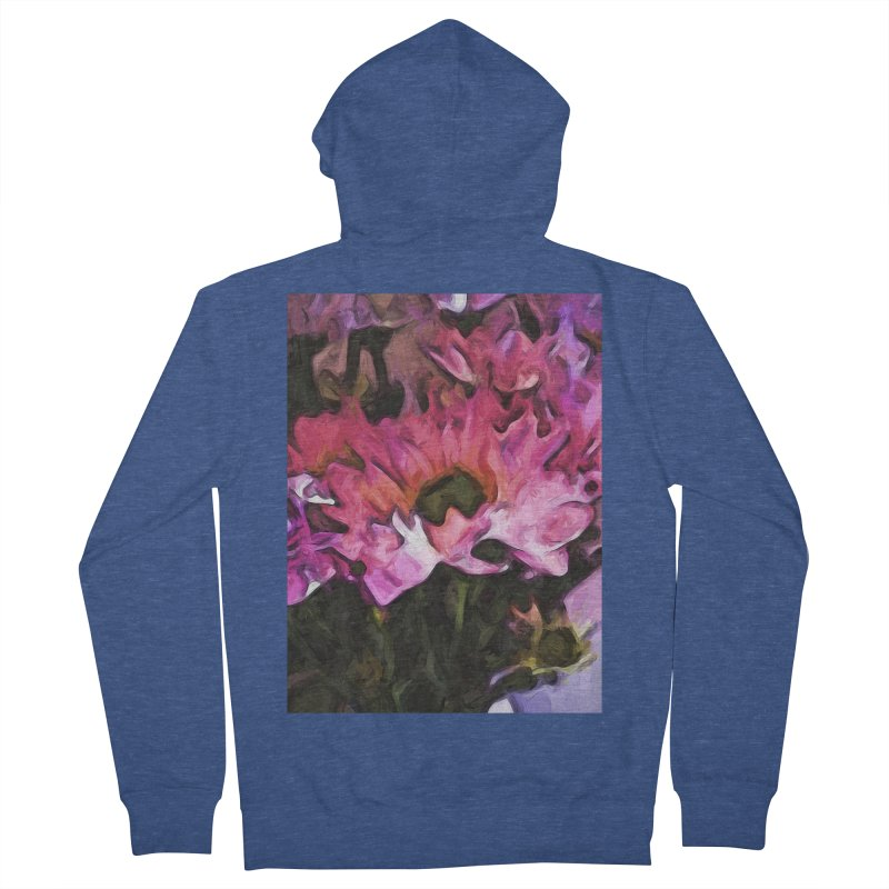 Pink Flowers and Green Leaves 5 Men's Zip-Up Hoody by jackievano's Artist Shop