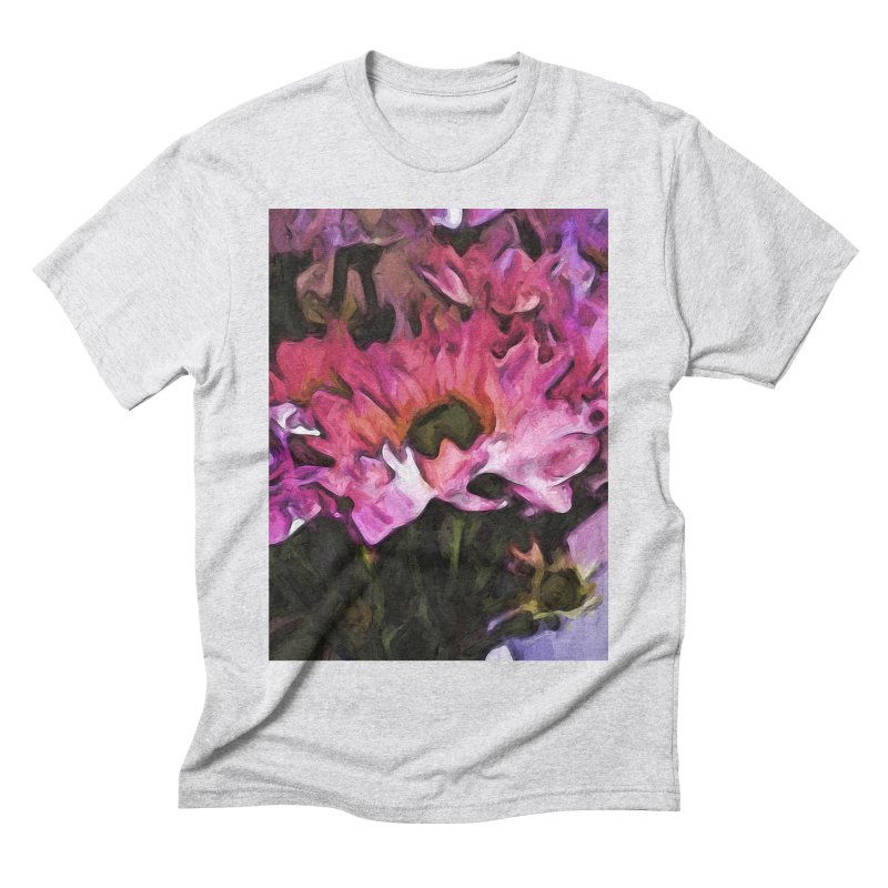 Pink Flowers and Green Leaves 5 Men's Triblend T-Shirt by jackievano's Artist Shop