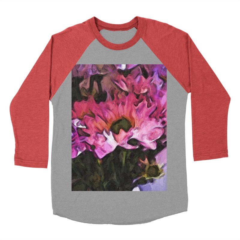 Pink Flowers and Green Leaves 5 Women's Baseball Triblend T-Shirt by jackievano's Artist Shop