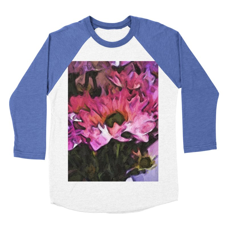Pink Flowers and Green Leaves 5 Men's Baseball Triblend T-Shirt by jackievano's Artist Shop