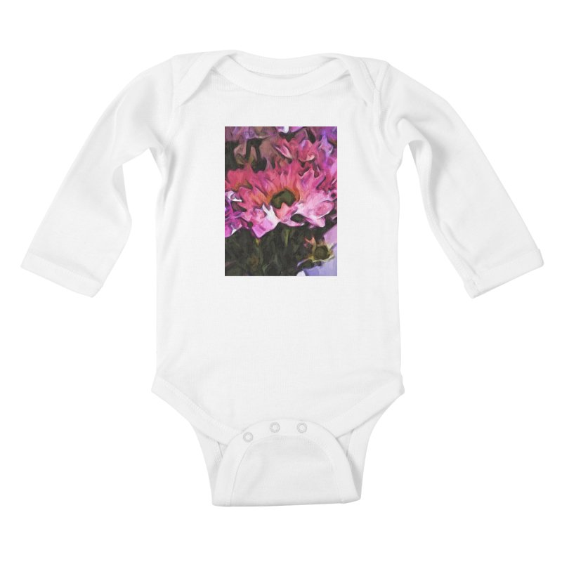 Pink Flowers and Green Leaves 5 Kids Baby Longsleeve Bodysuit by jackievano's Artist Shop