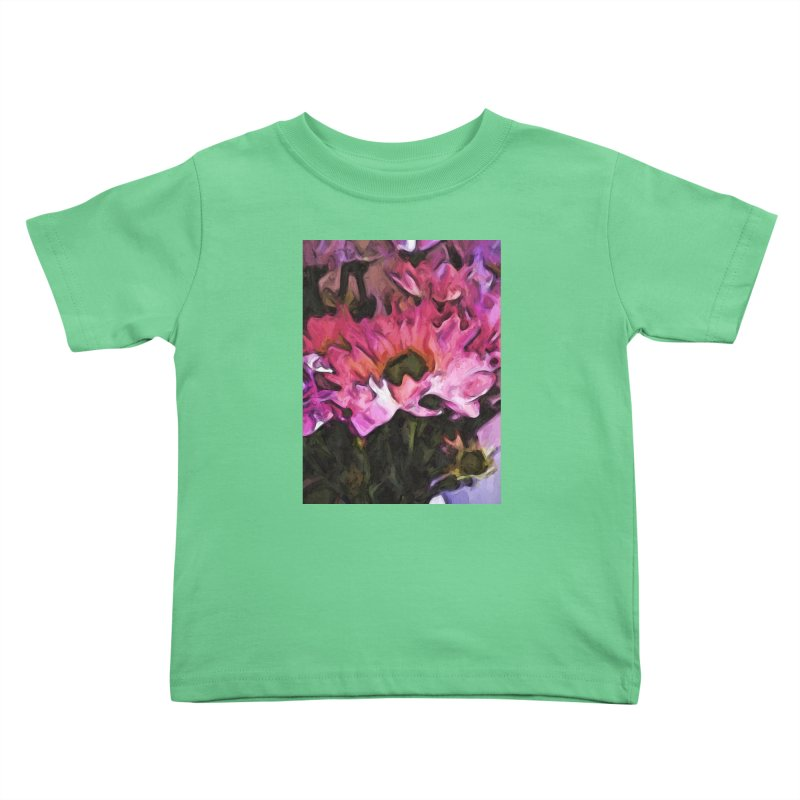 Pink Flowers and Green Leaves 5 Kids Toddler T-Shirt by jackievano's Artist Shop