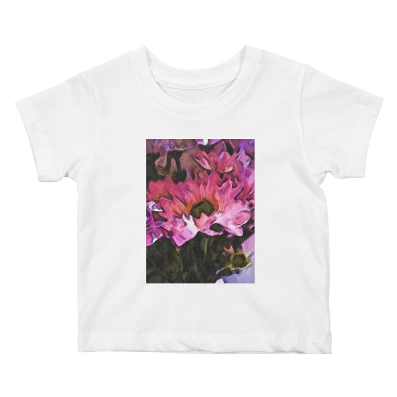 Pink Flowers and Green Leaves 5 Kids Baby T-Shirt by jackievano's Artist Shop