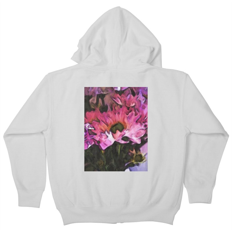 Pink Flowers and Green Leaves 5 Kids Zip-Up Hoody by jackievano's Artist Shop