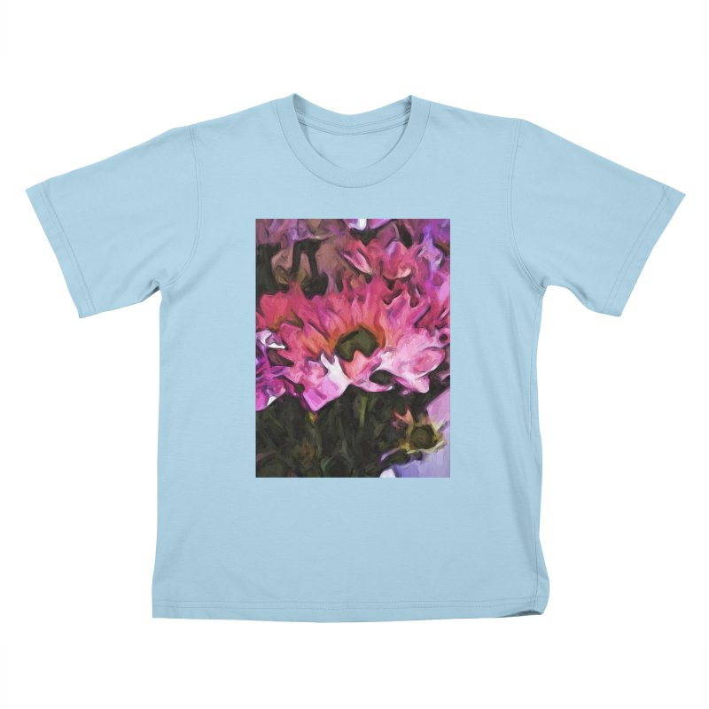 Pink Flowers and Green Leaves 5 Kids T-Shirt by jackievano's Artist Shop