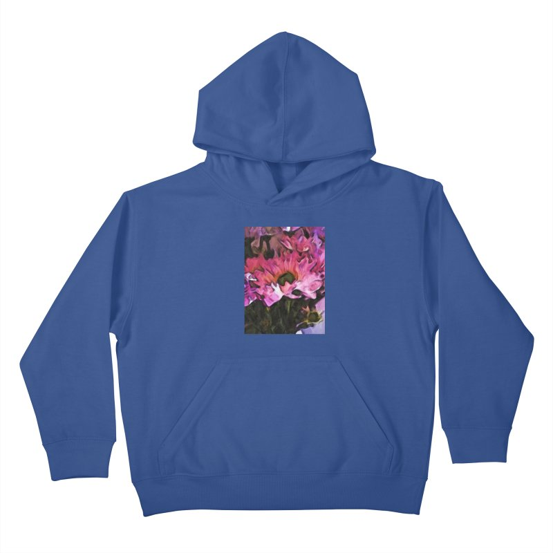 Pink Flowers and Green Leaves 5 Kids Pullover Hoody by jackievano's Artist Shop