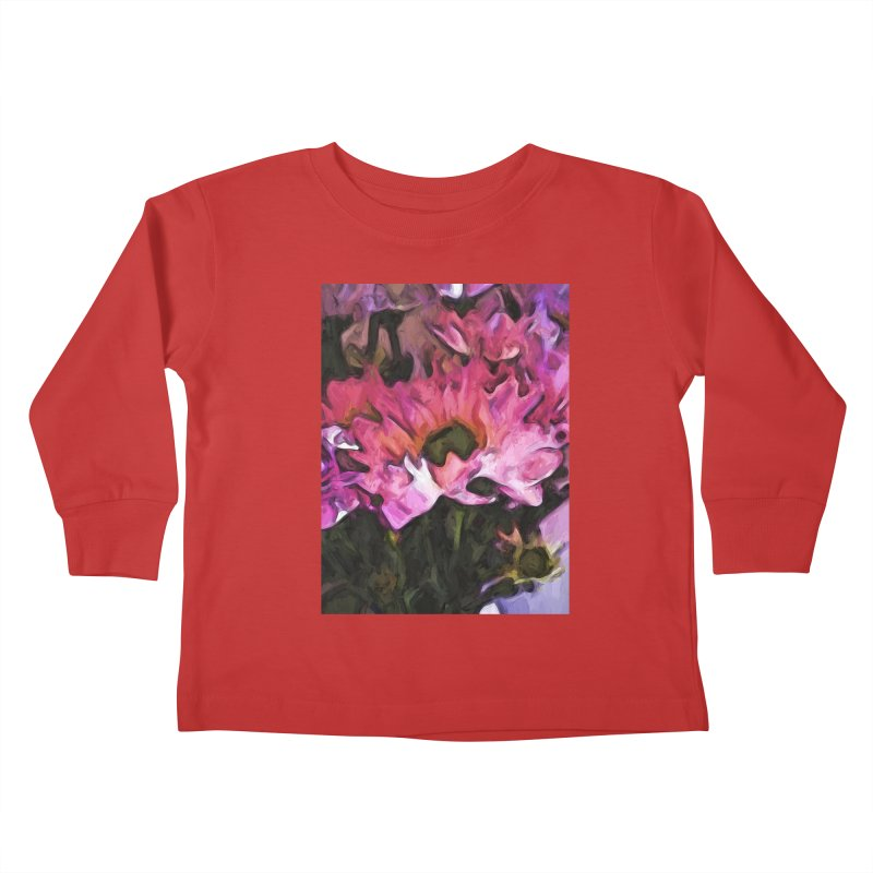 Pink Flowers and Green Leaves 5 Kids Toddler Longsleeve T-Shirt by jackievano's Artist Shop