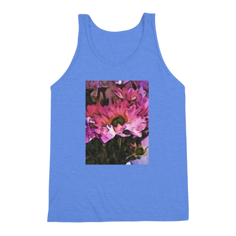 Pink Flowers and Green Leaves 5 Men's Triblend Tank by jackievano's Artist Shop