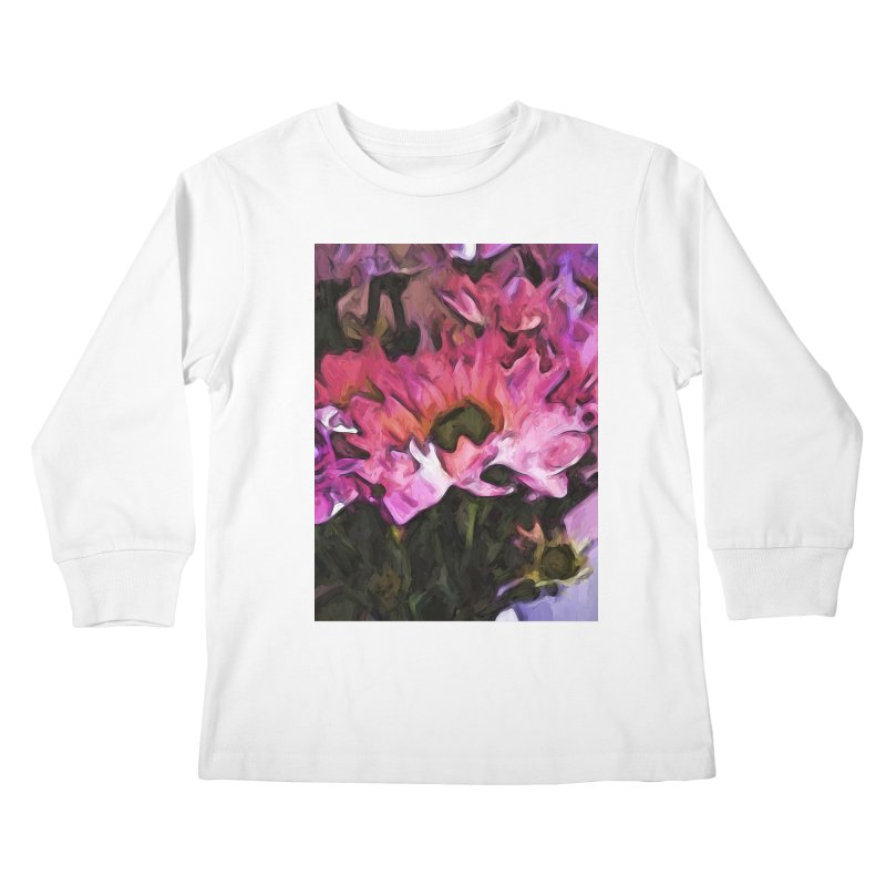 Pink Flowers and Green Leaves 5 Kids Longsleeve T-Shirt by jackievano's Artist Shop