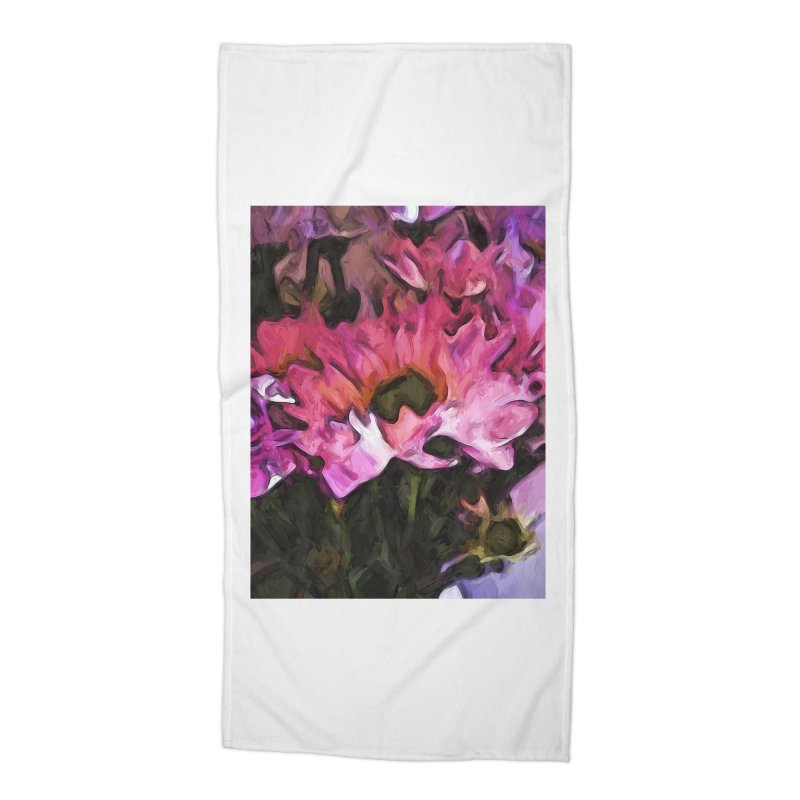 Pink Flowers and Green Leaves 5 Accessories Beach Towel by jackievano's Artist Shop