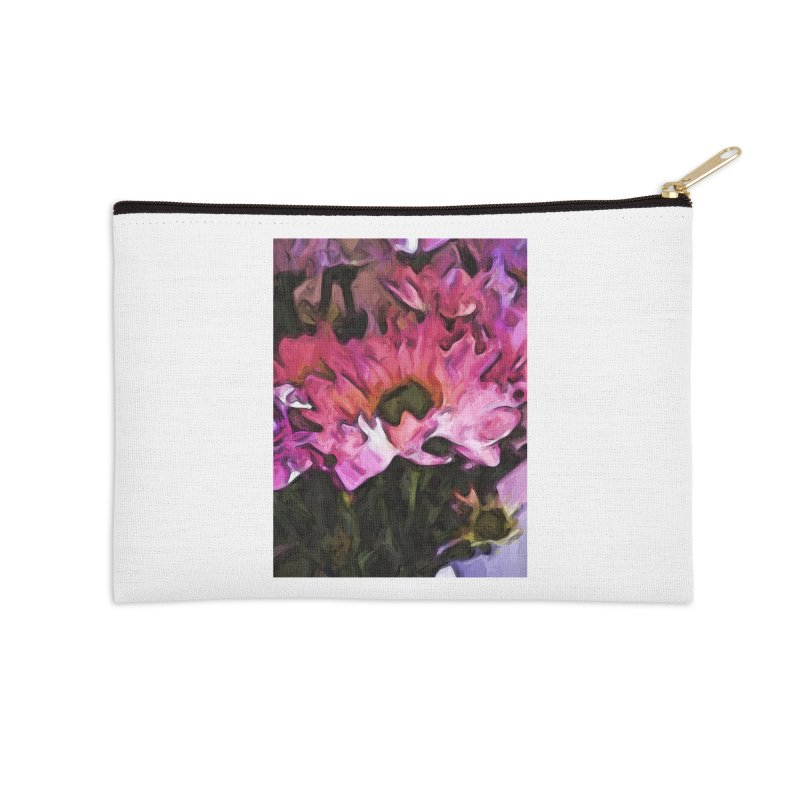 Pink Flowers and Green Leaves 5 Accessories Zip Pouch by jackievano's Artist Shop