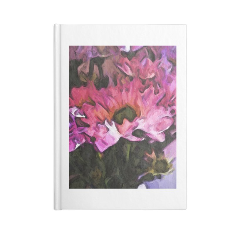 Pink Flowers and Green Leaves 5 Accessories Notebook by jackievano's Artist Shop