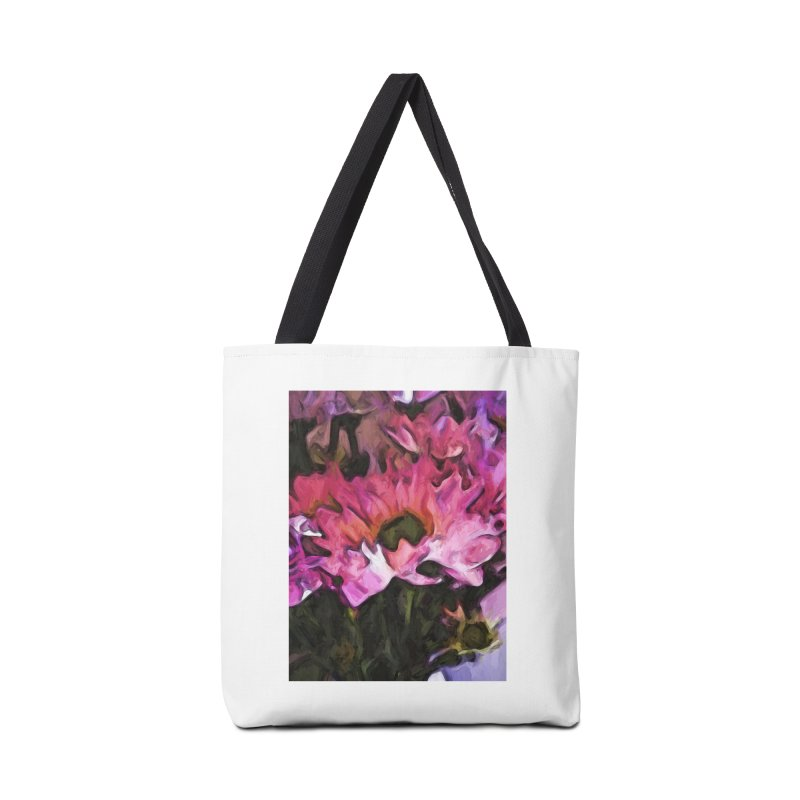 Pink Flowers and Green Leaves 5 Accessories Bag by jackievano's Artist Shop