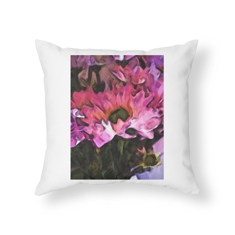 Pink Flowers and Green Leaves 5 Home Throw Pillow by jackievano's Artist Shop