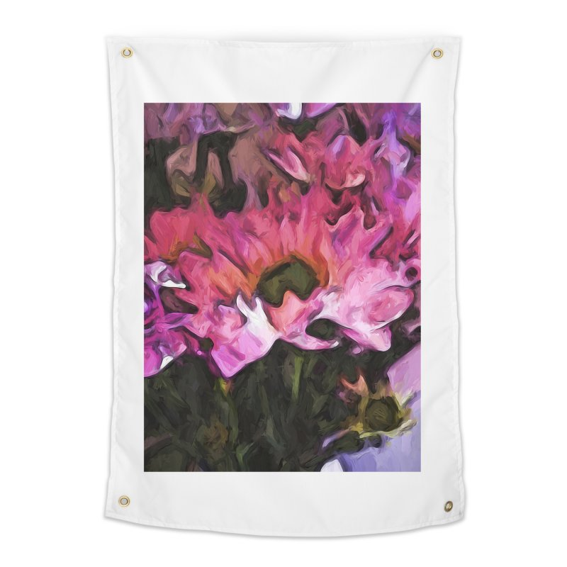 Pink Flowers and Green Leaves 5 Home Tapestry by jackievano's Artist Shop
